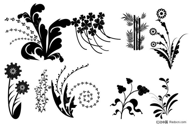 黑白花叶剪影矢量素材 花草树木矢量图下载 250743