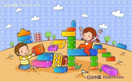 搭积木的一对儿童矢量图eps免费下载