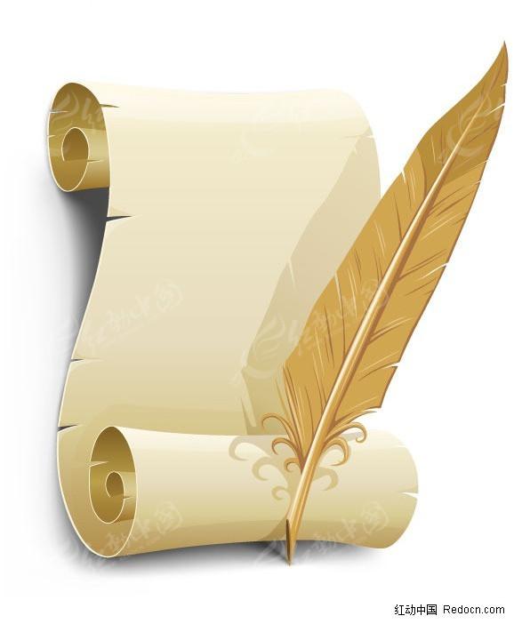旧纸张与羽毛笔矢量素材