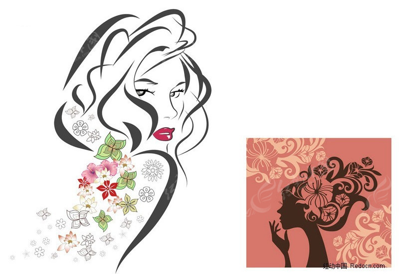 花之女子人物剪影矢量素材 美女矢量图|女人矢
