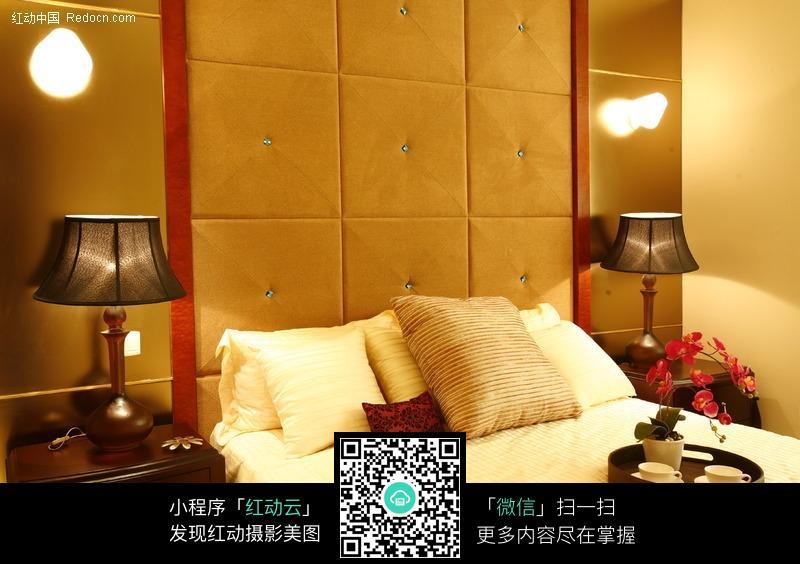 卧室睡床近景图片_室内设计图片