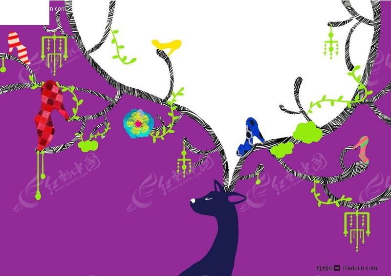 动物思想主题的儿童画底纹背景