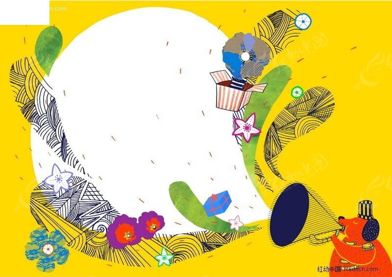 动物主题的的儿童画底纹背景