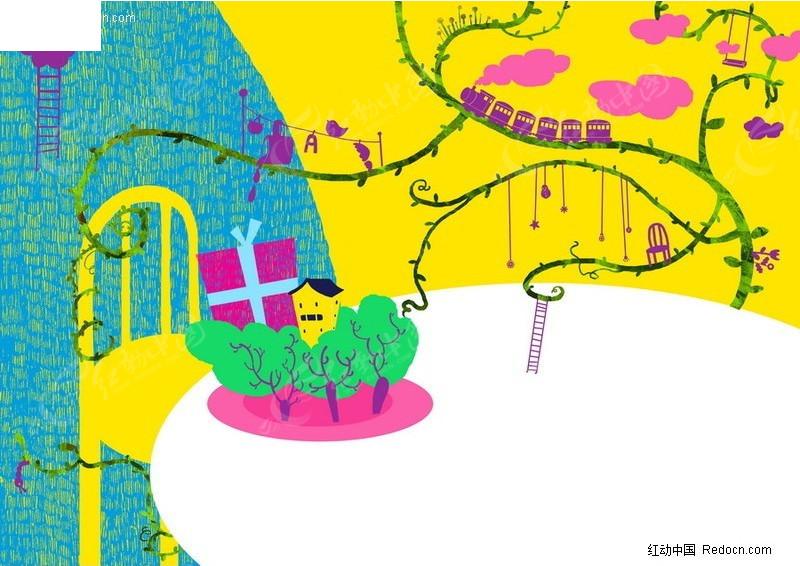 乡村主题的儿童画底纹背景