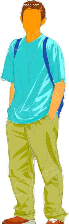 青春少年 插画 手绘 人物素材 男性图片 插画人物 矢量素材  帅哥图片