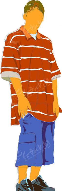 手绘-穿t恤短裤的男孩ai免费下载