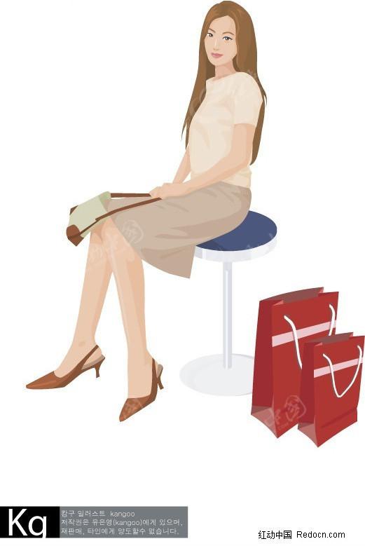 插画 坐在椅子上的女人矢量图