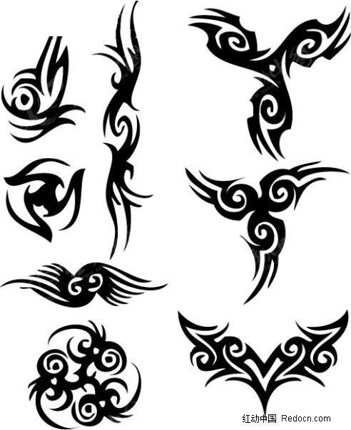 黑白矢量 个性矢量图 纹身图案 矢量  花纹 花纹素材 花边 花边素材