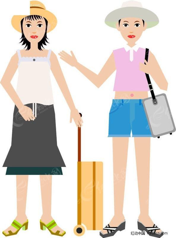 免费素材 矢量素材 矢量人物 新人情侣 手绘-夏天外出度假的情侣  请