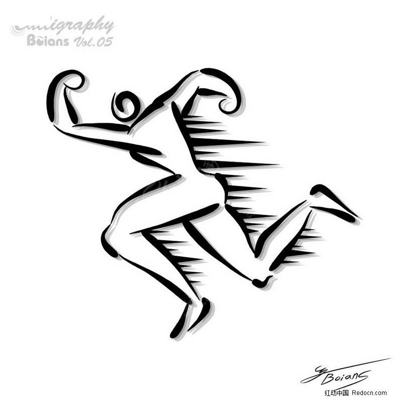 跑步运动员-简笔人物