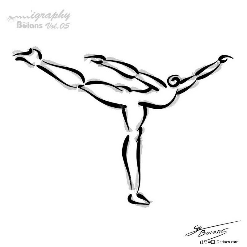 """线条人物黑白装饰画风格图案; 花样溜冰; > 搜索""""运动的人物线描""""图片"""