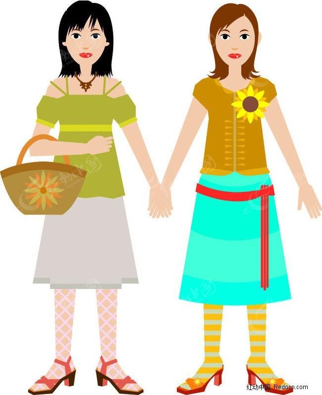 手绘-手拉手的两个女孩