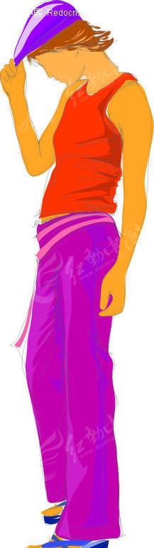 扶帽子的女孩 青春少女 插画 手绘 人物素材 美女图片 插画人物 矢量