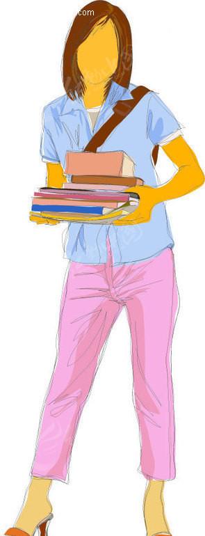 手绘-抱着一摞书的女孩