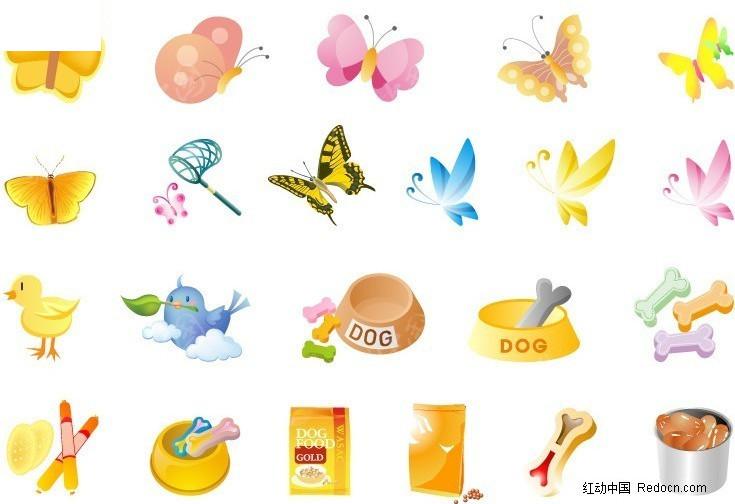 蝴蝶及小动物食物图标