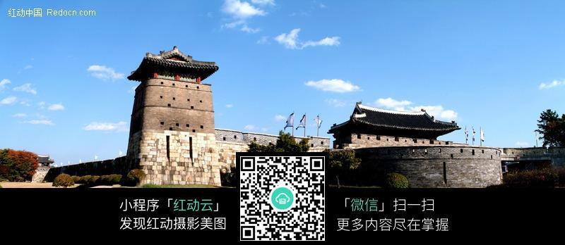 韩国城墙古建筑
