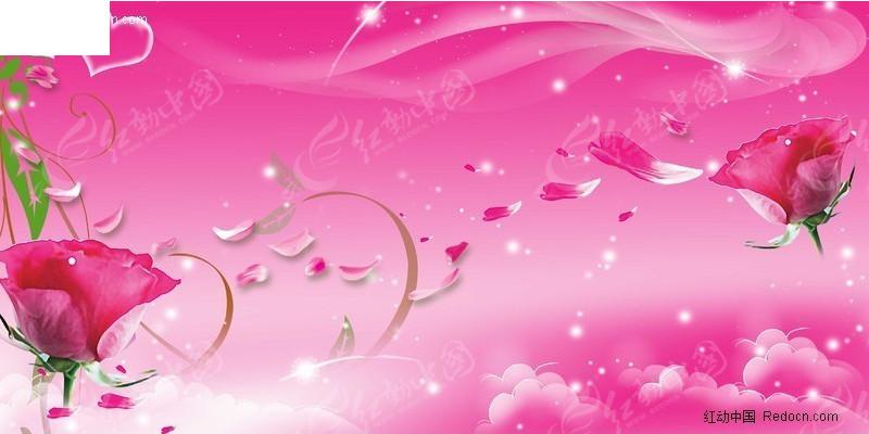 粉红色背景上飘落的花瓣背景图