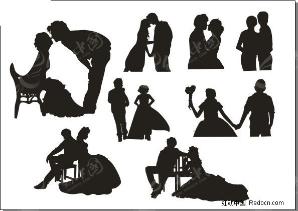 婚纱照 情侣人物剪影-婚纱新人; 情侣结婚照图片动漫情侣结婚照韩国