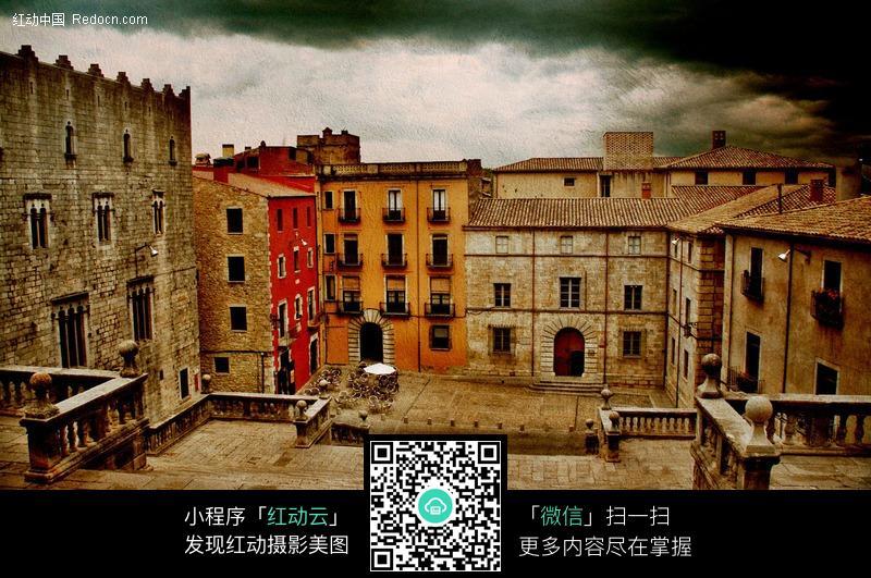 免费素材 图片素材 环境居住 城市风光 西班牙赫罗纳城市-房屋街道