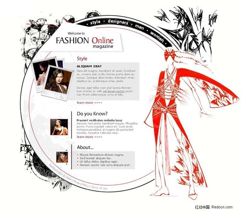 服装设计网站模板_欧美模板