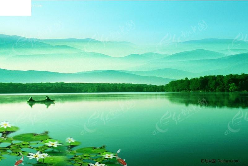 湖畔山水荷花风景图 风景psd素材下载编号:2