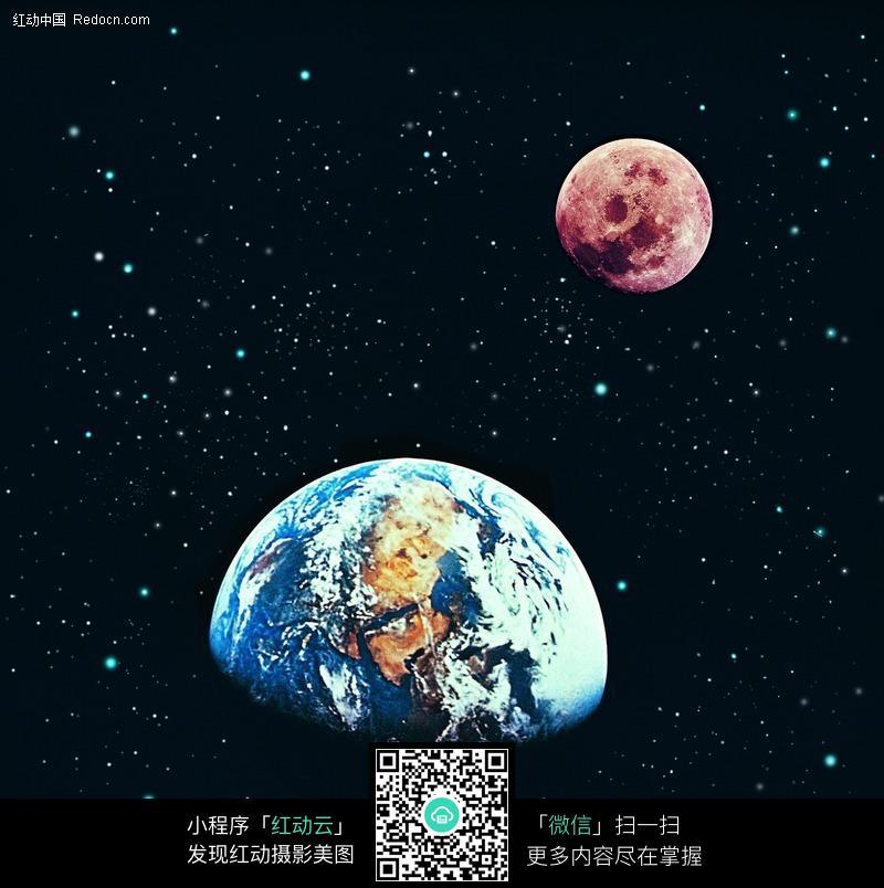 星空中的地球和月球图片