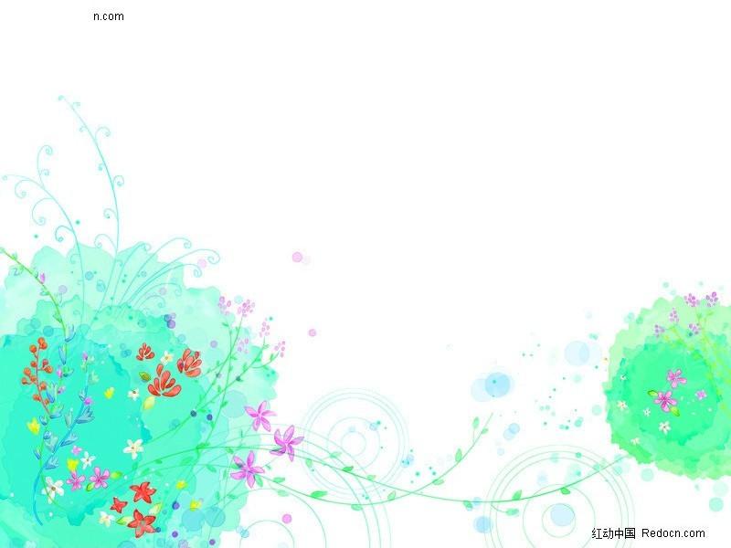 春天舞动的花朵插画; 卡通花背景;