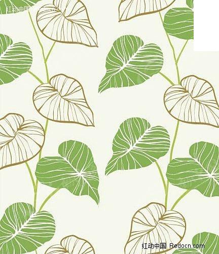 免费素材 矢量素材 花纹边框 底纹背景 韩国手绘叶子矢量素材  请您