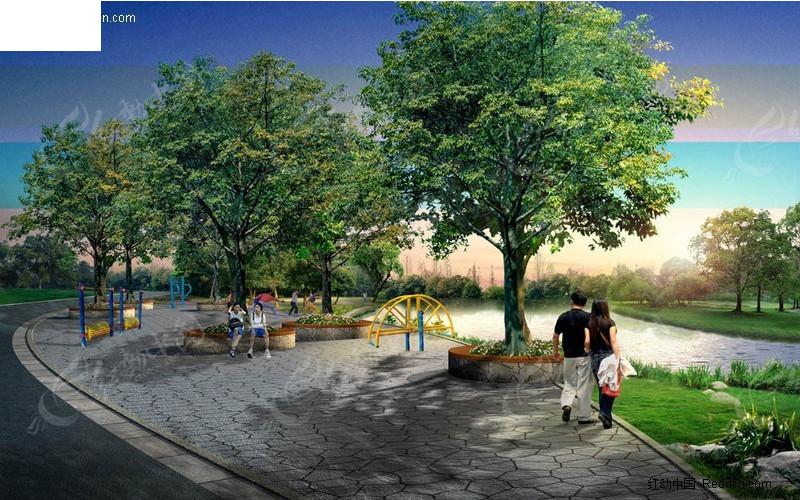 休闲广场景观效果图