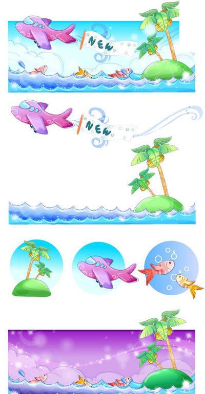 卡通手绘风格夏日风情系列矢量素材-飞面在海面上飞