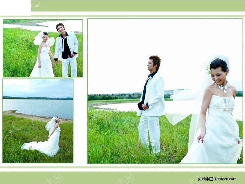 婚纱草地主题实景相册设计图片