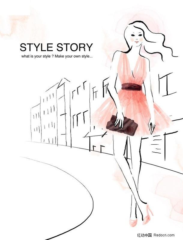 挎包穿裙子的美丽女性手绘图_卡通人物_红动手机版
