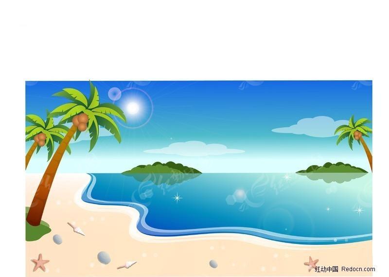 手绘海边风景背景