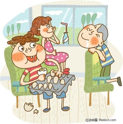简笔画儿童插画-吃煮鸡蛋的小男孩和流口水的伙伴