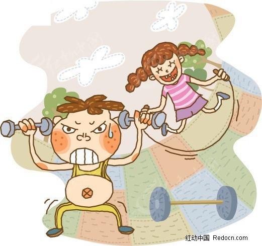 锻炼身体矢量图_儿童幼儿