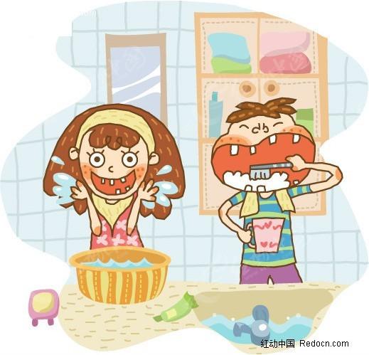 幼儿卡通简笔画太阳; 简笔画儿童插画-卫生间刷牙