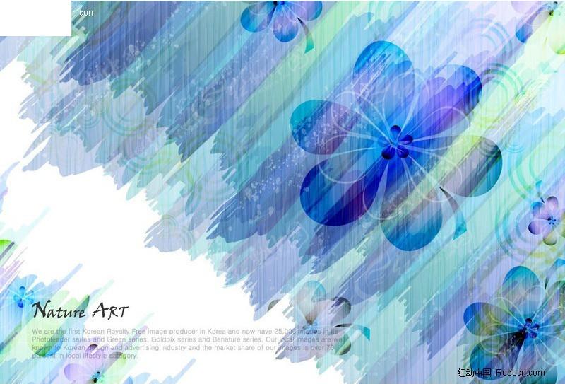 蓝色花卉背景素材