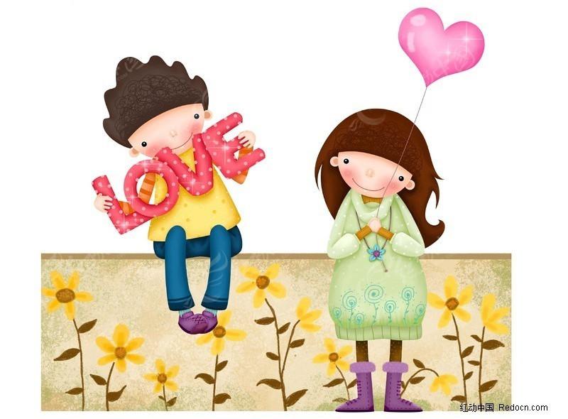免费素材 psd素材 psd分层素材 卡通人物 恋爱中的情侣插画  请您分享