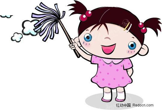 卡通打扫卫生图片图片; 打扫卫生卡通图片; 可爱儿童插画-打扫卫生的
