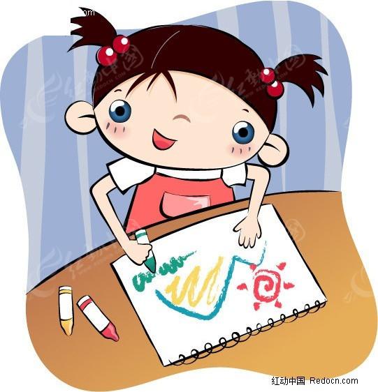 用蜡笔画画的小女孩矢量图