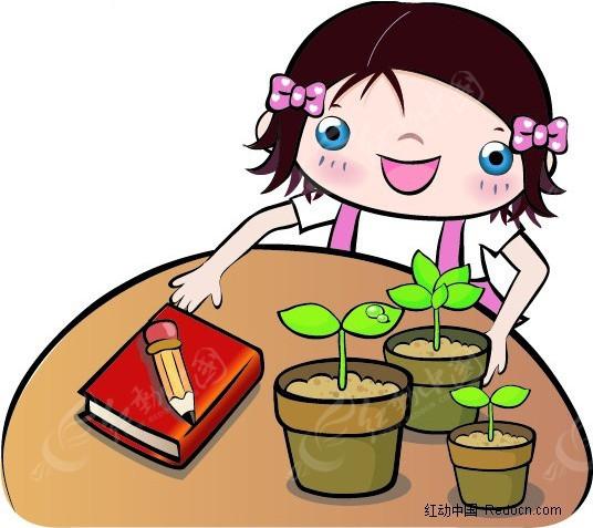 小女孩写植物生长观察日记