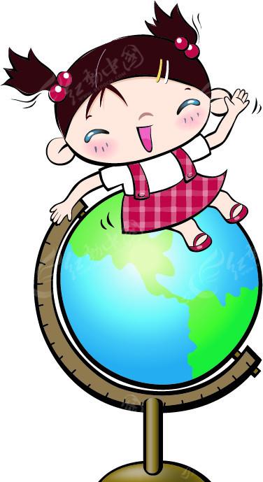 在地球仪上招手的小女孩