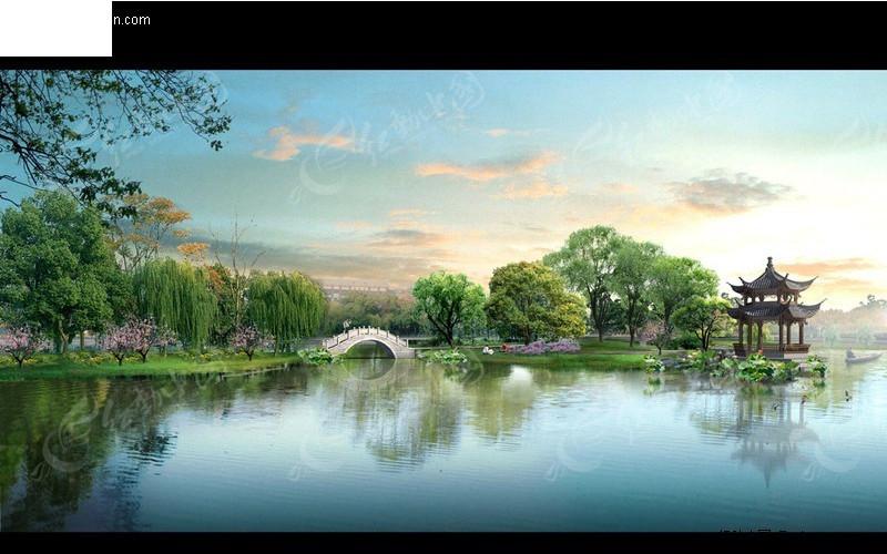 石拱桥亭子柳树风景效果图PSD素材免费下载 编号278592 红动网