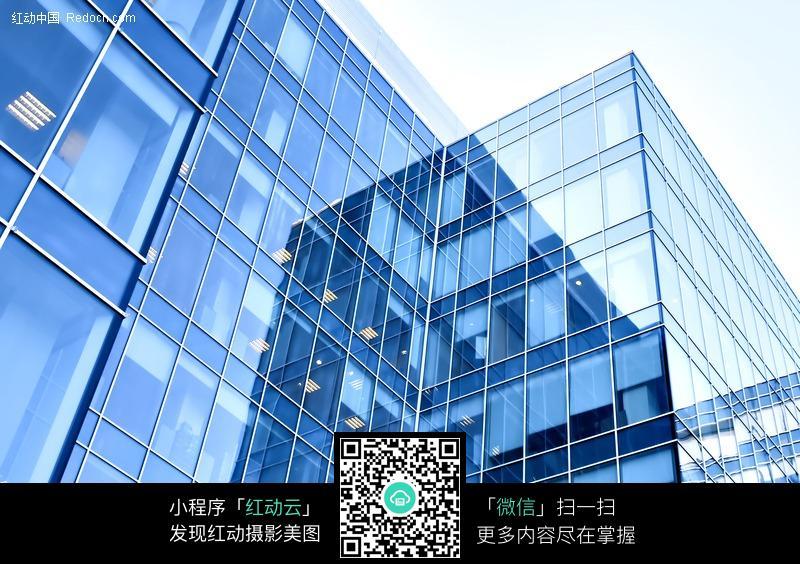 蓝色的大楼外立面图片_建筑设计图片