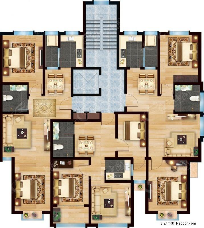 免费素材 psd素材 psd建筑空间 室内设计 平面户型图素材  请您分享图片