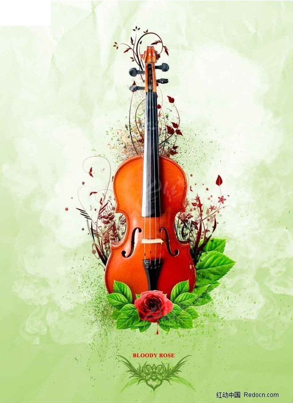 小提琴与玫瑰潮流创意psd素材