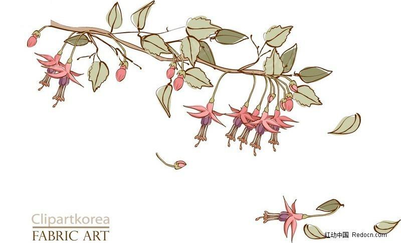 树枝上飘落的花瓣