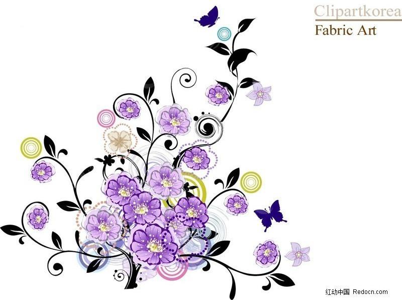 紫色花卉藤蔓矢量图_花草树木