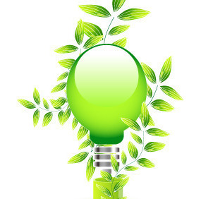 绿色 花草 灯泡