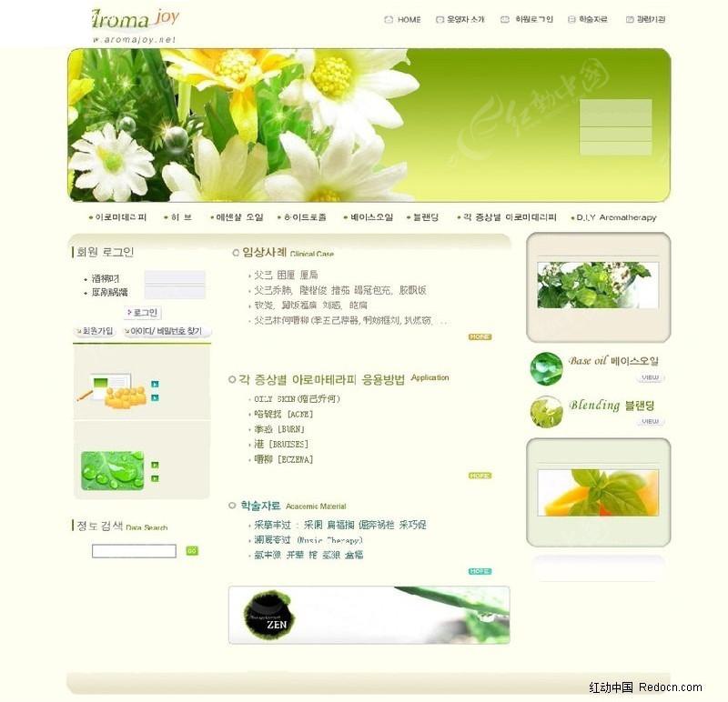韩国花店网页模板图片